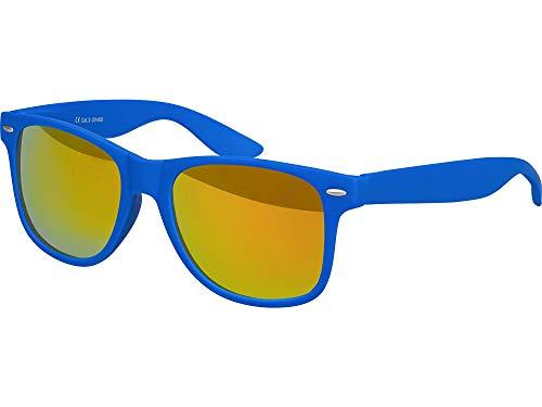 Balinco Hochwertige Nerd Sonnenbrille Rubber im Retro Stil Vintage Unisex Brille mit Federscharnier - 96 verschiedene Farben/Modelle wählbar (Blau - Rot/Orange verspiegelt)