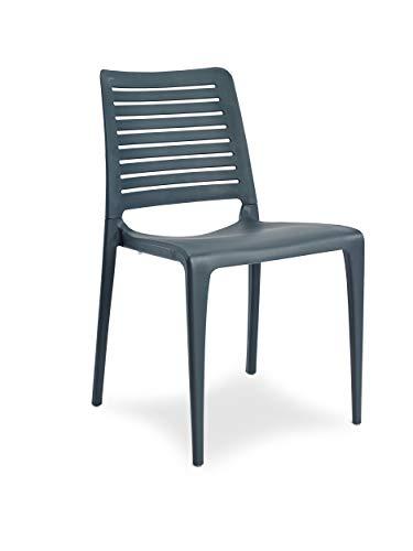 DCB GARDEN Park Chaise de Jardin, Anthracite, 56x47x84 cm