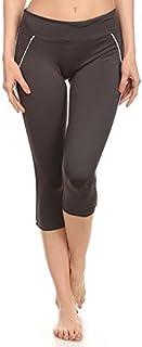 Leggings - Yoga Capri by Elan- Power Fitness Pants - Stretch Legging for Pilates, Gym, City Wear with Hidden Pocket