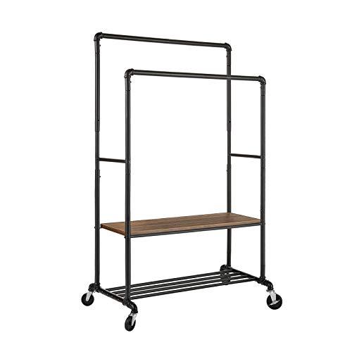 Greenstell - Perchero de estilo industrial con 2 estantes, resistente, altura ajustable y duradera con estantes inferiores para cajas de almacenamiento de zapatos, color negro