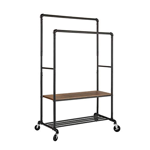 Greenstell Clothes Rails, Clothing Rack with Wheels and Shelves, Adjustable Height Freestand Heavy Duty Garment Rack with Shoe Rack Shelf, Double Hanging Rails for Bedroom, Living room