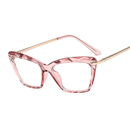 Heigmz Nvtyj Gafas de sol con montura para gato, lentes transparentes para mujer, lentes de miopía, gafas retro para computadora (color del marco: rosa)