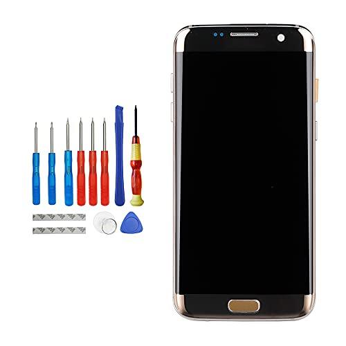Vvsialeek Pantalla táctil AMOLED de repuesto compatible con Samsung Galaxy S7 Edge SM-G935F SM-G935FD SM-G935K SM-G935L LCD táctil, marco dorado con kit de herramientas