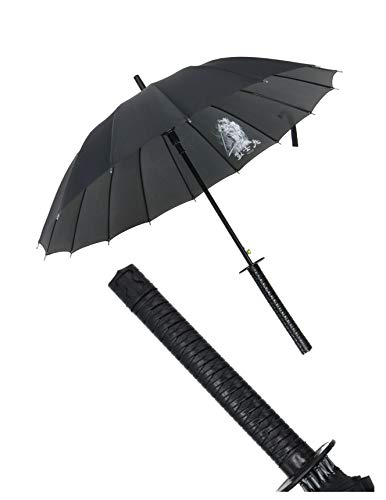 Kurop Samurai Sword Handle Umbrella Ninja Katana Japanese Long Umbrella with 16 Ribs