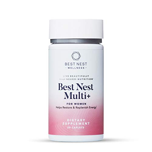 Best Nest Women's Multi+, Methylfolate, Methylcobalamin (B12), Vegan Multivitamins, Probiotics, Natural Whole Food Organic Blend, Once Daily Multivitamin, Immune Support, 30 Ct, Best Nest Wellness