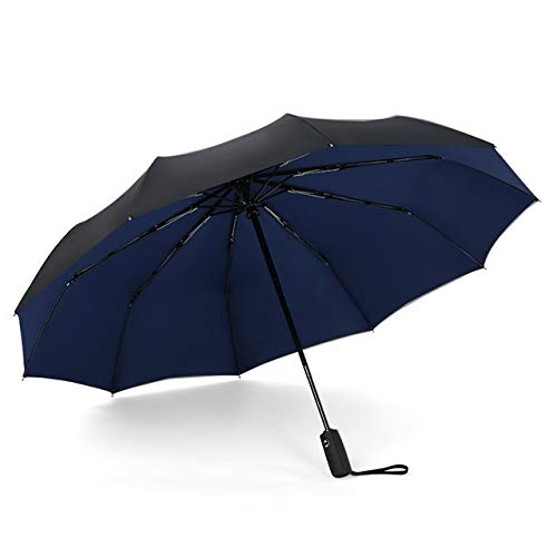 ZSSDJDD 10K Double Layer Windproof Fully-automatic Umbrellas Male Women Umbrella Three Folding Commercial Large Durable Frame Parasol (Color : Navy blue)