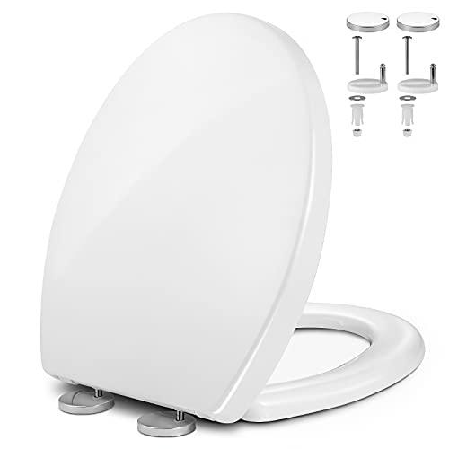 Ahsado Runder Toilettensitz Klodeckel, WC Sitz mit absenkautomatik, EIN Knopf Quick Release, Antibakteriell Toilettendeckel aus Duroplast mit Edelstahl-Befestigung, O Form (44 *37 cm)