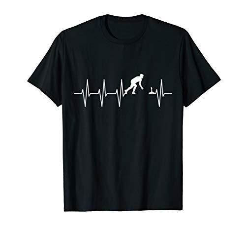 Eisstock Herzschlag Stocksport Stockschießen Puls EKG T-Shirt