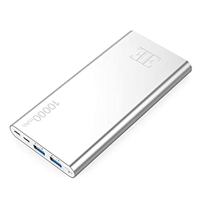 EUI 10000mAh External Battery,2 USB Outputs Portable Charger Power Bank with Type C Input,Aluminum Shell, Intelligent Charging Tech for iPhone, iPad and Android Devices.(Silver)