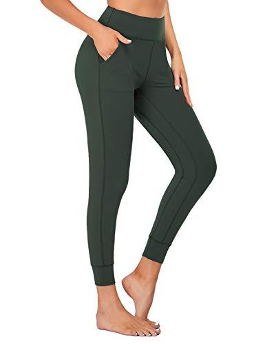 SEVEGO Leggings con Bolsillos Mujer Fitness Suaves Elásticos Cintura Alta para Reducir Vientre Transpirables Pantalones Jogger de Yoga Oscuro Verde M