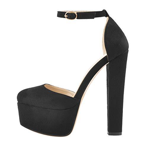Only maker Sandalias de mujer de terciopelo negro, color Negro, talla 39 EU