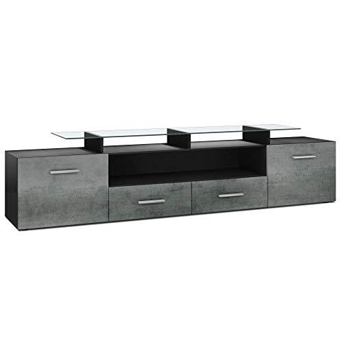 Vladon TV Board Lowboard Almada V2, Korpus in Schwarz matt/Front in Dunkel Beton Optik