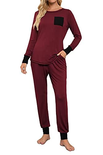 Conjunto de pijama para mujer Petite largo, de algodón, cómodo pijama a rayas, suave, juegos de pj lounge con bolsillos, Burgendy Red, XL