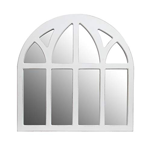 Distressed White Farmhouse Cathedral Windowpane Wall Mirror