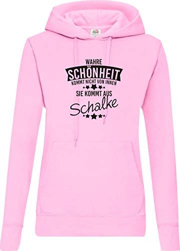 Shirtstown Lady Kapuzensweatshirt, Wahre Schönheit kommt aus Schalke, Frauen Sweatshirt Kapu Spruch Sprüche Frau Logo, Farbe Rosa, Größe, S