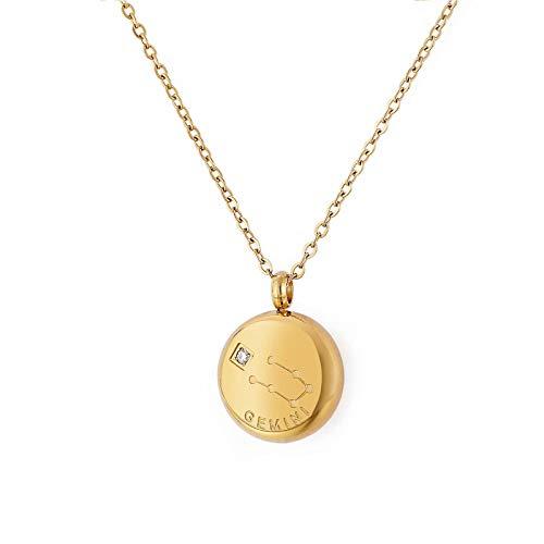 Qings Geminis Constelaciones Collar Acero Titanio Collar Colgantes 12 Signos Zodíaco Horóscopo Astrológicos en Medalla Redonda Chapado en Oro Cadena Regalo de Cumpleaños para Mujer Niñas
