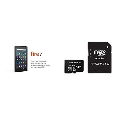 """Tablet Fire 7 schermo da 7"""", 16 GB, (Nero) con offerte speciali + ARCANITE 512 GB MicroSDXC scheda di memoria con adattatore UHS-I U3, A1, V30, 4K, C10, Micro SD, Velocità lettura fino a 90 MB/s"""