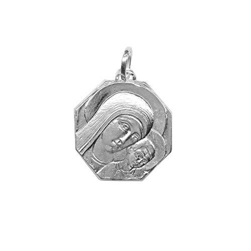 Medalla Colgante Virgen Camino Neocatecumenal Octogonal Plata Ley 925m