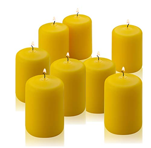 Citronella Pillar Candle - Set of 8 Citronella Candles - 3 inch Tall, 2 inch Thick - 18 Hour Burn Time for Indoor/Outdoor Use