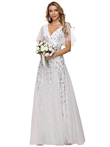 Ever-Pretty Women's V Neck Short Sleeve A Line Elegant Shimmery Sequin Fashion Wedding Dress for Bride 24UK White