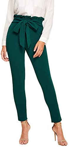 Floerns Women s Stretchy Workwear Office Skinny Pants with Belt Green L product image