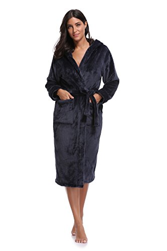 Luvrobes Women's Plush Fleece Hooded Robe Ultra-Soft Long Bathrobe (XS/S,Navy)
