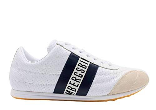 Bikkembergs Sneakers Herren-Sneakers Casual Sport niedrige Schule Leder Weiß, Weiß - Weiß - Größe: 44 EU