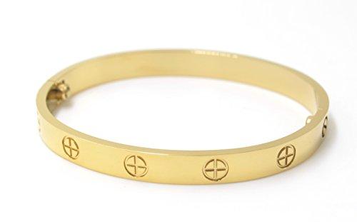 Luxuriöses Liebesarmband aus Vergoldetem Edelstahl im Einfachen Stil für Damen Herren (Gold Size 16)