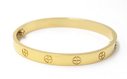 Luxury Gold-Plated Stainless Steel Simple Style Love Bangle Bracelet for Women Men (Gold in size 16)