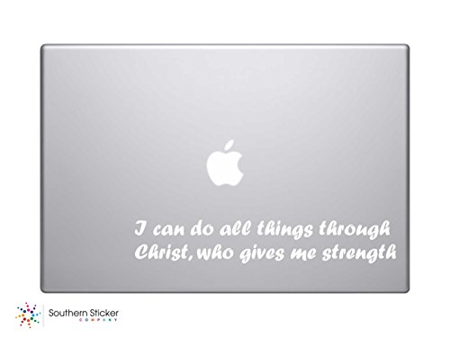 I Can Do All Things Through Christ Who Gives Me Strength. Bible Verse Vinyl Car Sticker Symbol Silhouette Keypad Track Pad Decal Laptop Skin Ipad Macbook Window Truck Motorcycle