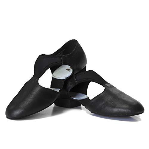 DANCEYOU Zapatos de Jazz para Mujer con Suela Blanda Zapatos de Baile Latino para Hombre Sandalias de Enseñanza de Baile de Cuero para Baile de Salón Salsa Latina Moderna, Negro EU 35.5/36