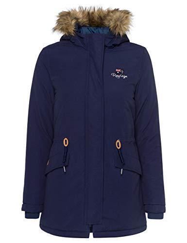 ROADSIGN Australia Lange Winterjacke mit abnehmbaren Fake-Fur, Navy | M (38)