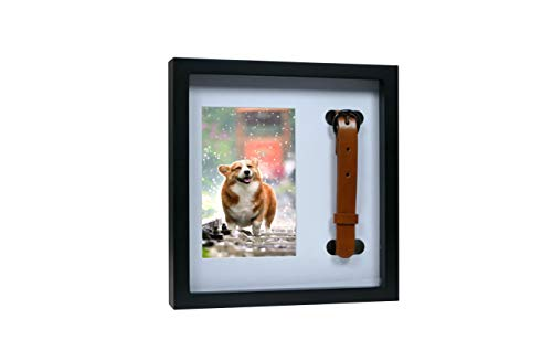 Dog Memorial Picture Frame with Collar – Dog Collar Memory Frame – Pet Photo Frame to Mount or Hang – Thoughtful Gift of Sympathy for Grieving Dog Lovers