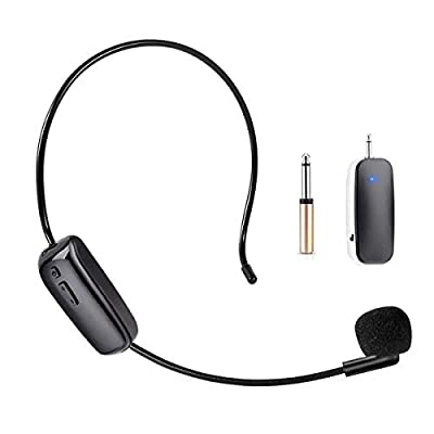 UHF Wireless Microphone Headset, Headset Microphone and Headset 2 in 1 Rechargeable Wireless Mic with Wireless Receiver for Voice Amplifier, Stage Speaker, Public Speaking and Teaching