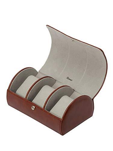 IsmatDecor Runde Kunstleder-Uhr-Kasten - 3 Uhren I Brown