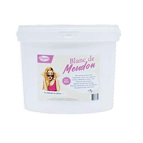 VOZYDEO Blanc de Meudon Carbonate de Calcium - Seau de 4Kg - Produit dEntretien Multi-usages - Nettoie et fait briller - Ideal Argenterie Vitres et Miroirs - Origine Naturelle - Qualité Premium