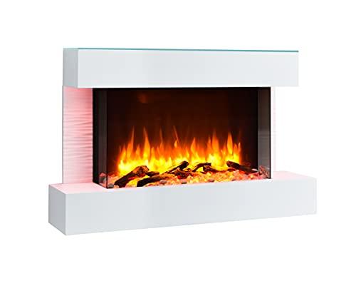 RICHEN Elektrokamin Aidan mit Glasplatte - Elektrischer Wandkamin mit Heizung, LED-Beleuchtung, 3D-Flammeneffekt & Fernbedienung - Elektrischer Kamin Weiß