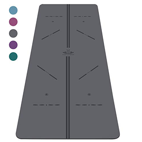 "Heathyoga ProGrip Non Slip Yoga Mat with Alignment Lines, Revolutionary Wet-Grip Surface & Eco Friendly Material, Perfect for Hot Yoga and Bikram, Free Carry Bag 72""X26"" (Grey-Black)"