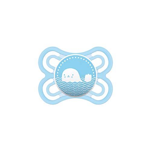 MAM Perfect Schnuller, fördert eine gesunde Zahn- und Kieferentwicklung, Baby Schnuller aus speziellem MAM SkinSoft Silikon mit Schnullerbox, 0 - 6 Monate, blau