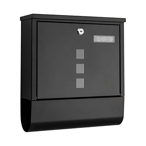 1PLUS Briefkasten Postkasten Wandbriefkasten mit Zeitungsrolle/Zeitungsfach mit schützender Beschichtung (mit Namensschild, schwarz)