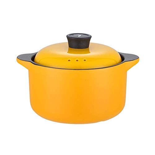 YUHT Barm Ceramic Casserole with Lid, Handmade Pot Clay Pot Clay Pot Healthy Cookware Onion Soup Pots Soup Slow Cooker Orange 2.64 Quarts Soup Pot