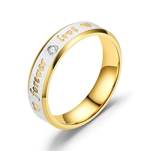 Banemi Bague pour Homme Chevaliere Acier Inoxydable Bague de Mariage Or Argent Couple pour Toujours l'amour Taille de Bague 61.5