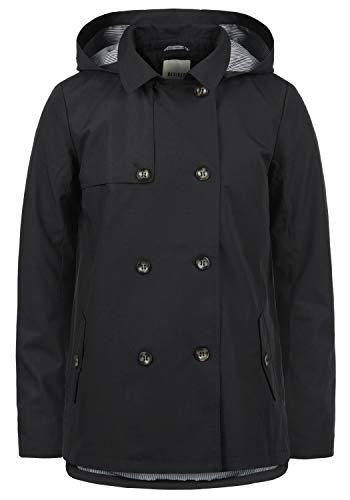 DESIRES Tine Damen Trenchcoat Mantel Übergangsjacke mit Kapuze, Größe:M, Farbe:Black (9000)