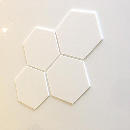 Servewell Azulejos de pared hexagonales inastillables para niños, color blanco, paquete de 10 – 10 x 10 cm
