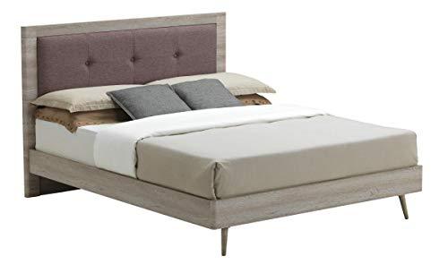 Belvoir King Size Bed Grey Oak & Mocca Fabric, Modern King Size Bed Frame With Fabric And Oak Effect Headboard, Bedroom Furniture
