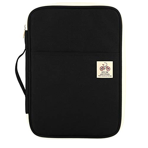 JAKAGO Portafolio Carpeta de presentación comercial padfolio inteligente Carpeta A4 Folio Impermeable documento Organizador Pasaporte bolsa conferencia carpeta (negro)