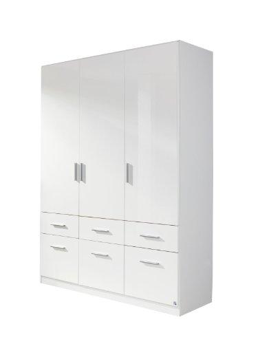 Rauch Möbel Celle Schrank Drehtürenschrank in Weiß / Hochglanz Weiß, 3-türig mit 6 Schubladen, inkl. Zubehörpaket Basic 1 Kleiderstange 2 Einlegeböden, BxHxT 136x197x54 cm