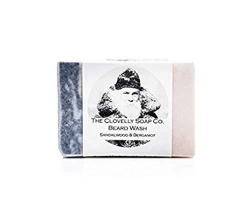 Clovelly Soap Co Natürliches handgemachtes Bartshampoo Sandelholz & Bergamotte 100g