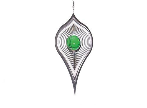 Illumino Edelstahl-Windspiel Pendel mit smaragdgrüner 35mm Glaskugel