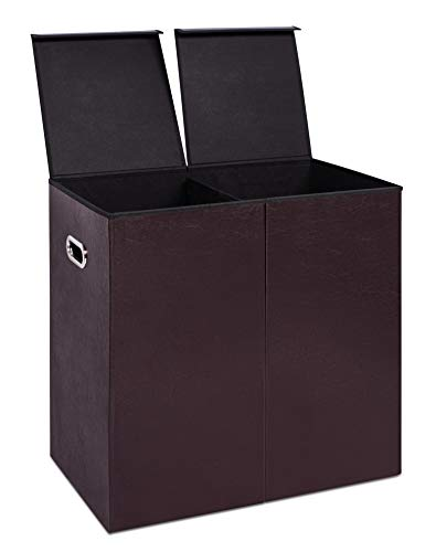 Internet's Best Double Faux Leather Laundry Hamper with Lid - Double Load - Foldable Hamper Basket - Removable Lid - Brown